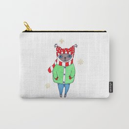 Cute Siamese Cat in Winter Scarf, Hat, Mittens, and Coat Carry-All Pouch