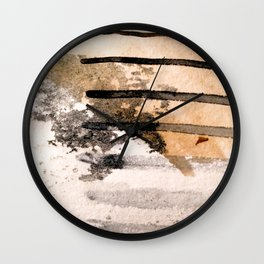 Desert Musings - a watercolor and ink abstract in gray, brown, and black Wall Clock