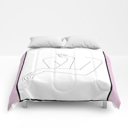 Crossed arms illustration - Anna Pink Border Comforters