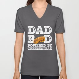 Dad Bod Powered By Cheesesteak Father Figure Gifts Idea with Funny Graphic for Food Lovers Unisex V-Neck