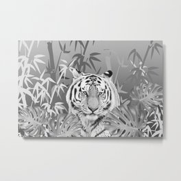 Tiger Cat in Jungle Monstera Bamboo Leaves Metal Print
