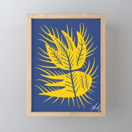 Swedish Yellow and Blue Design Flower Framed Mini Art Print