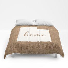 Utah is Home - White on Burlap Comforters