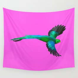 Painted Quetzal with Mexican Pink Wall Tapestry