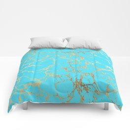 Modern aqua elegant faux gold foil marble pattern Comforters
