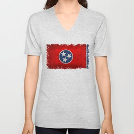 Tennessee State flag, Vintage version Unisex V-Neck