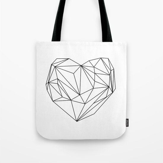 Heart Graphic (black on white) Tote Bag
