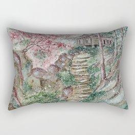 Old hanok (Watercolor painting) Rectangular Pillow