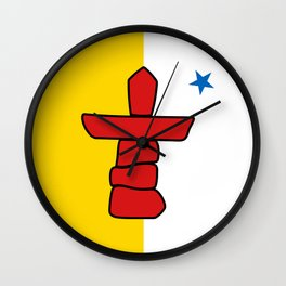 Nunavut territory flag- Authentic version with Inukshuk and blue star Wall Clock