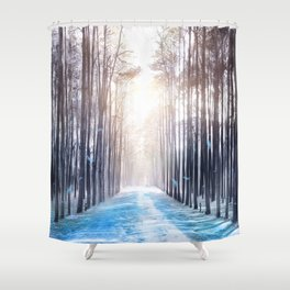 Feather Dance In Winter Shower Curtain
