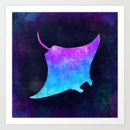 MANTA RAY IN SPACE // Animal Graphic Art // Watercolor Canvas Painting // Modern Minimal Cute Art Print