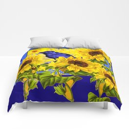 ARTISTIC BLUE CROW SUNFLOWERS CONCEPT Comforters