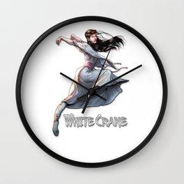 White Crane Comic Kung Fu Girl tshirt cute martial arts gift Wall Clock