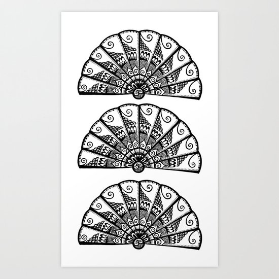 Triple Fan Art Print