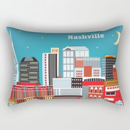 Nashville, Tennessee - Skyline Illustration by Loose Petals Rectangular Pillow