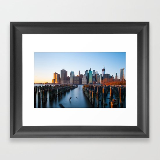 Sunset over Manhattan Framed Art Print