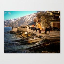 Boat Dock (Arsanas) at St. Anne's Skete, Mount Athos Canvas Print