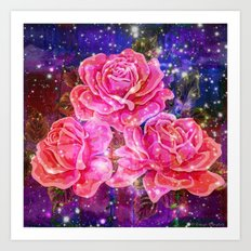Roses with sparkles and purple infusion Art Print