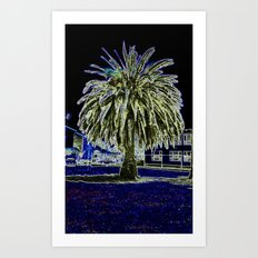 Magic night with Palm tree Art Print