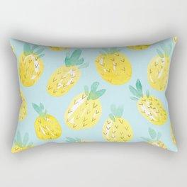 Watercolour Pineapples on Blue Rectangular Pillow