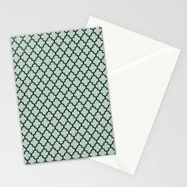 Modern mint green navy blue moroccan quatrefoil Stationery Cards