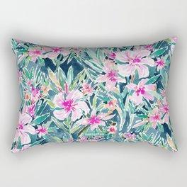 LUSH OLEANDER Tropical Watercolor Floral Rectangular Pillow