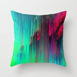 Just Chillin' - Abstract Neon Glitch Pixel Art Throw Pillow