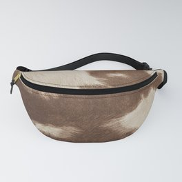 Cowhide Brown and White Fanny Pack