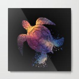 Watercolor Space Turtle Metal Print