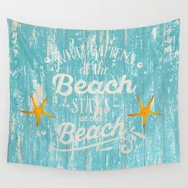 Happy Beach Life- Saying on aqua wood Wall Tapestry