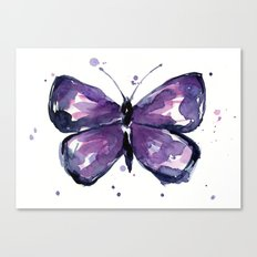Purple Butterfly Watercolor Abstract Animal Art Canvas Print