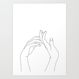 Hands line drawing illustration - Abi Art Print