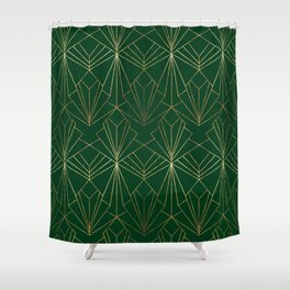 Art Deco in Gold & Green Shower Curtain