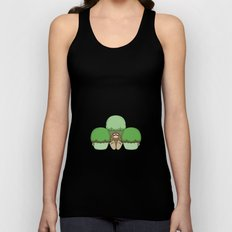 Cute Monster With Green And Yellow Frosted Cupcakes Unisex Tank Top