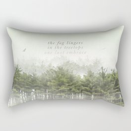 the fog lingers / in the treetops / one last embrace: Haikushion Rectangular Pillow