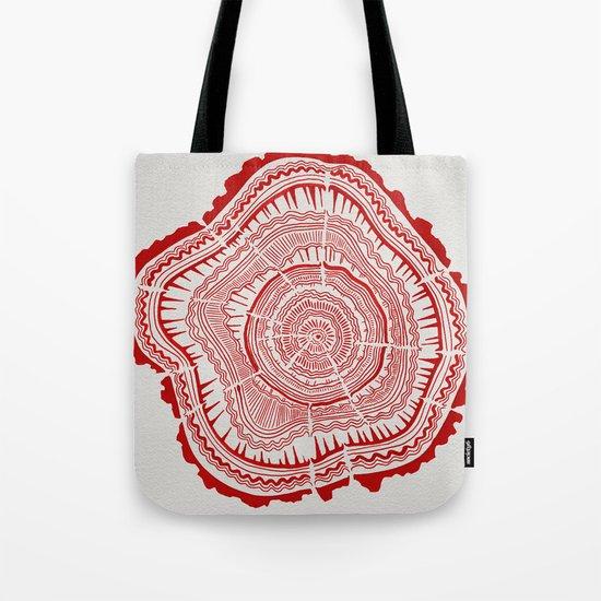 Red Tree Rings Tote Bag