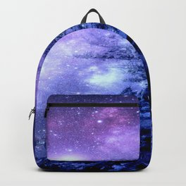 Galaxy Winter Forest Lavender Purple Blue Backpack