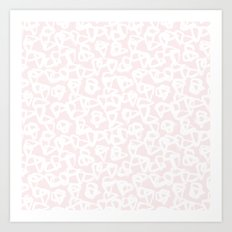 Blush Pink White Abstract Art Print