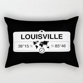 Louisville Kentucky Map GPS Coordinates Artwork with Compass Rectangular Pillow