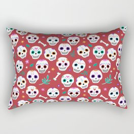 Red Sugar Skulls Rectangular Pillow