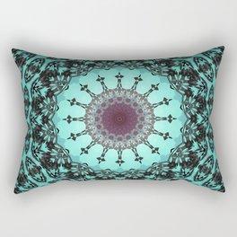 Bright Teal Black Bohemian Mandala Rectangular Pillow