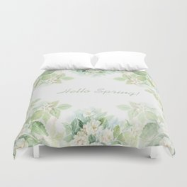 Spring floral watercolor painting & Quote Duvet Cover