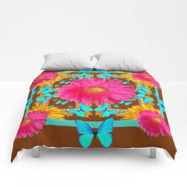 Coffee Brown Pink Flower Blue Butterfly Floral Art Comforters