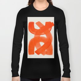 Mid Century Modern Abstract Painting Orange Watercolor Brush Strokes Long Sleeve T-shirt