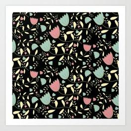 Tulips on Black Art Print