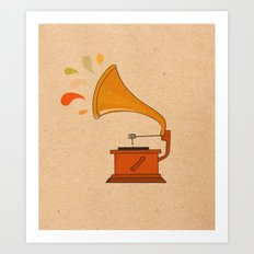 Vintage grammophone with music splashes on brown  Art Print