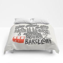 Barcelona Cityscape Comforters
