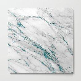 Gray Marble Aqua Teal Metallic Glitter Foil Style Metal Print