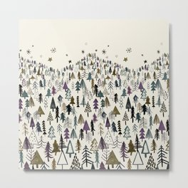 Trees forest night Metal Print