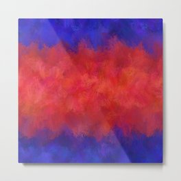 Red Pink Blue Color Explosion Abstract Metal Print